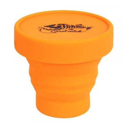 Стакан Tramp складной силиконовый с крышкой оранжевый