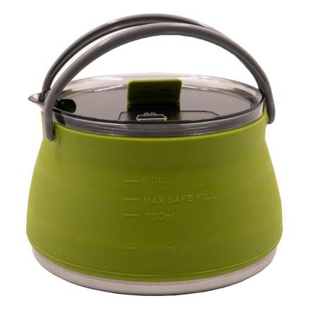 Чайник Tramp силиконовый с металлическим дном олива