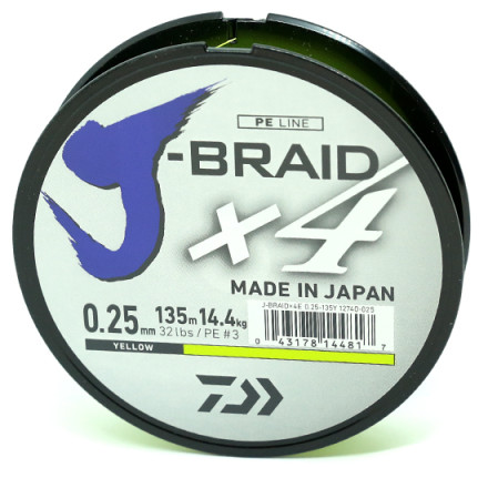 Шнур Daiwa J-Braid X4E Yellow 135 м