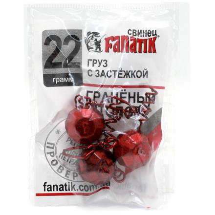 Груз штопор FANATIK граненый с застежкой red 5pc